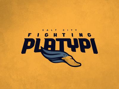 CFFL Salt City Fighting Platypi illustration platypus mascot typography fantasy football football design logo sports design sports