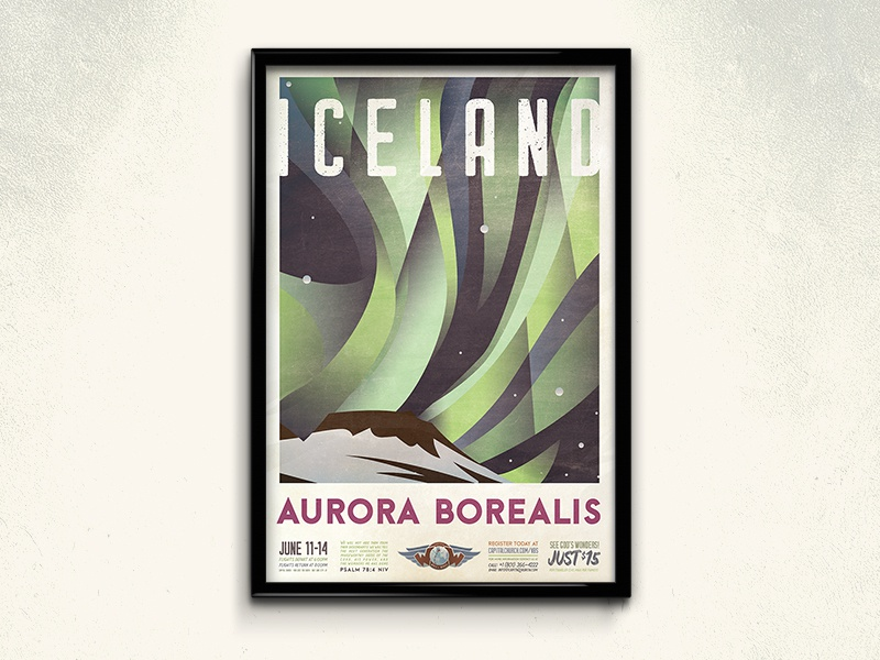 World of Wonder Travel Poster Series illustration layout victoria falls great barrier reef grand canyon aurora borealis travel poster design