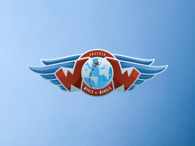 World of Wonder Logo world airplane wings flight illustration logo design logo travel vbs