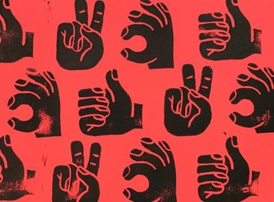 linocut hands