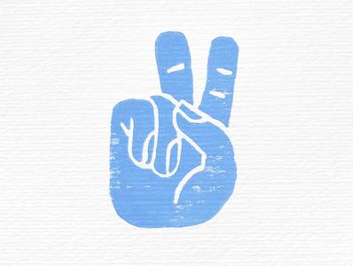 linocut peace sign