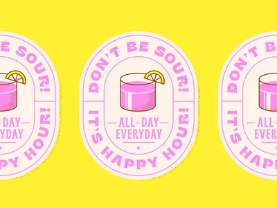 Happy Hour pt. 1 cocktail happy hour sticker typography type illustration vector