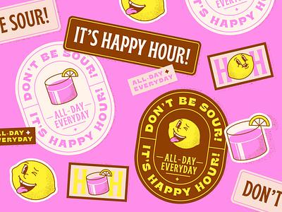 Happy Hour pt. 2 lemon cocktail happy hour sticker design stickers sticker typography colorful design illustration vector