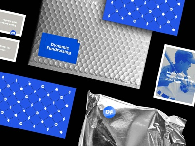 Dynamic Fundraising Mailers logotype logo print metallic material stationary design corporate mailing mail mailer silver blue pattern branding