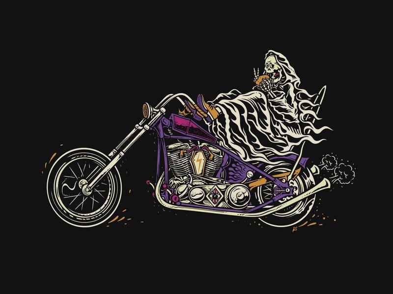 Eat, Ride, Repeat ! hand drawn tshirt design lowbrow art character sale available summer purple gradient devil concept vector harley davidson kustom kulture motorcycle chopper design illustration cartoon artwork art