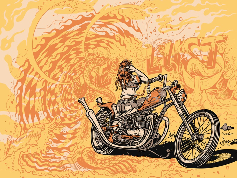 Yellow Glow stunning premium triumph collage motorcycle kustom kulture illustration design chopper character artwork art