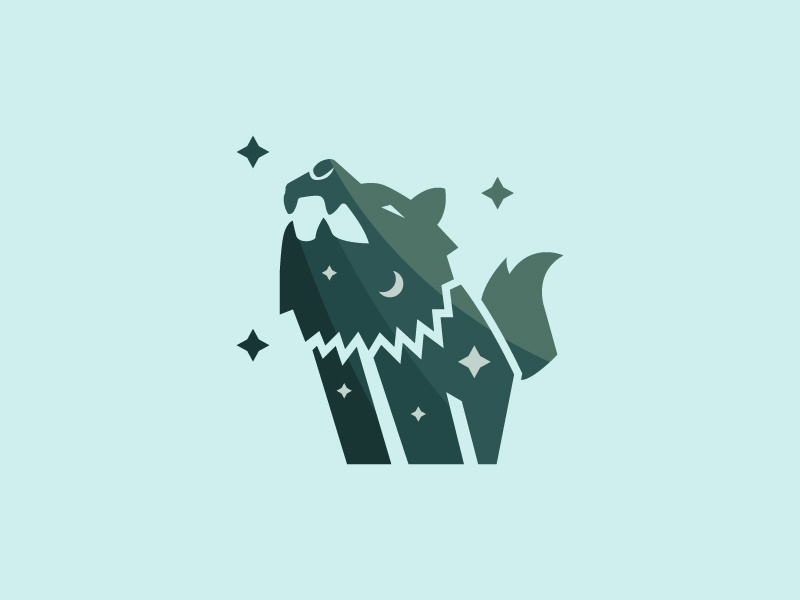 The Howling Wofl flatdesign logo night forest animal wolf