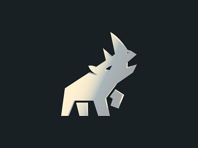 Metal Rhino rhinoceros design flatdesign rhino animal