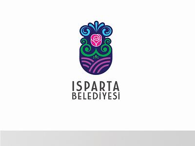 Isparta Belediyesi Logo Design ''Proposal'' vector typography branding illustration water rose logo design isparta libya turkey creative design logo