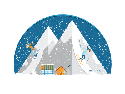 ski // illustration landing page illustration ui israel daniela snow travel ski