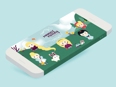 home page // app design cinderella red riding hood fairy tale woods israel daniela fun character photoshop illustrator illustration candy