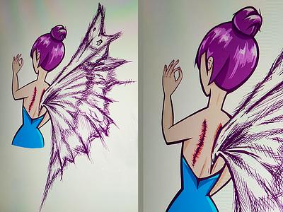 2D Fairy Illustration character 2d character 2d artist 2d art wings wingsart fairy procreate app clean vector illustration flat icon daniela israel