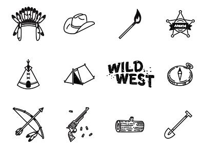 Wild West icons sheriff cowboy wild west