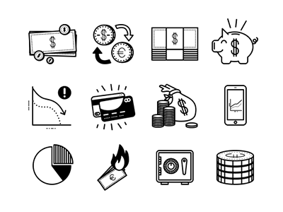 Fun Financial Icons bills coins dollars euros money fun icons financial