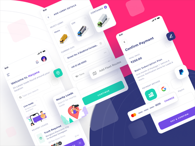 Truck Booking App UI transport app delivery delivery app redesign truck booking app ui kit cargo app truck app truck booking app truck truck booking illustration payment app ui kit design system design rebranding ui ux ui design app design
