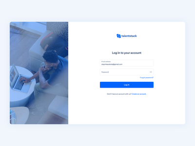Talentstack | Log In website form sign up web app interface log in onboarding figma user experience minimal ui ux design uiux user interface ui ui design product design