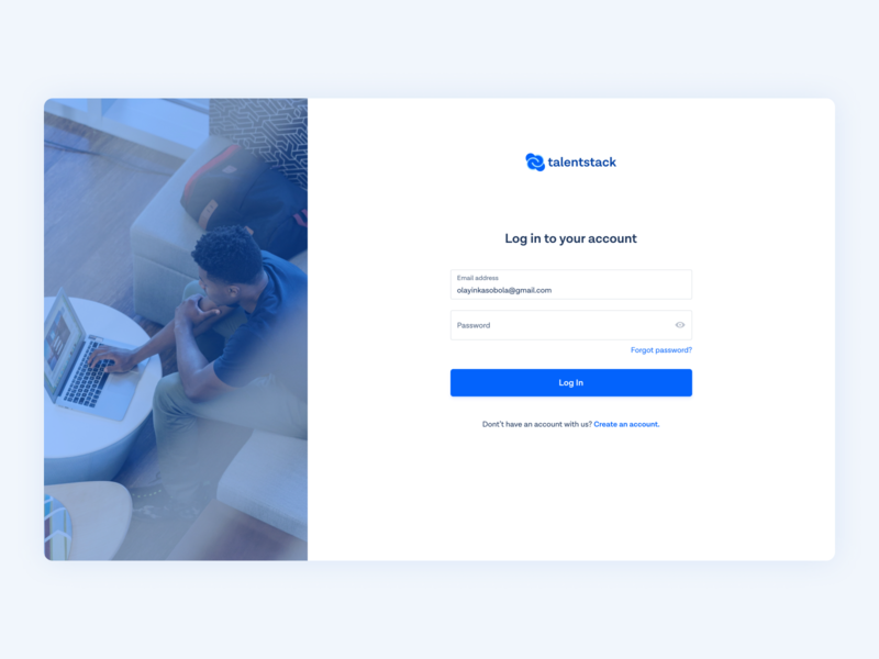 Talentstack | Log In website form sign up web app interface log in onboarding figma user experience minimal  ui ux design uiux user interface ui ui design product design