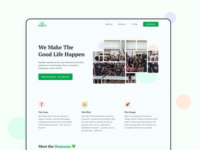 About | Eden Life homepage landing page web ux web design website uiux ui ux design product design user interface ui design ui