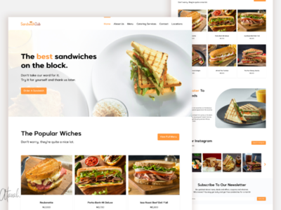 SandwichClub Landing Page UI  ui ux design xd web ui web design ux user interface user experience uiux ui design ui restaurant website restaurant ui restaurant product design minimal figma app