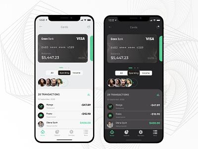 Green Bank Wallet - Dark / Light UI finance app finance concept payment banking online banking bank light ui light dark theme dark ui wallet clean design ux ui