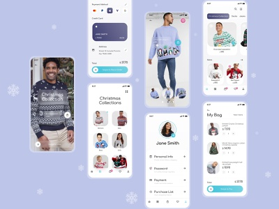 E-commerce -  Fashion Mobile App fashion order confirmation cart bag checkout more screens more screens payments christmas sale winter shopping store e-shop e-commerce app ux ui