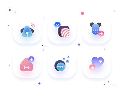 Pet Icons colour mobile app emoji icon set icon blur pet vector concept flat minimal ui clean