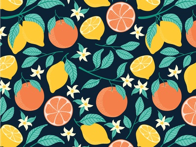 Citrus freshness oranges lemons illustration design leaves fabric surface pattern design citrus design