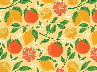 Citrus freshness lemon repeat pattern yellow orange textile design illustration fabric surface pattern design leaves