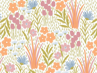 Floral field floral pattern flat design vector pattern textile design textile fabric print fabric seamlesspattern repeating pattern surface pattern surface pattern design