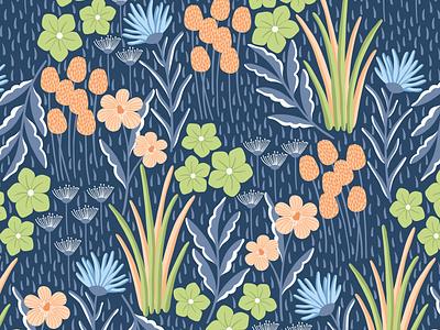 Floral field floral pattern floral design textile pattern textile fabric design fabric vector pattern flat design vectorart seamless pattern repeat pattern surface design surface pattern design
