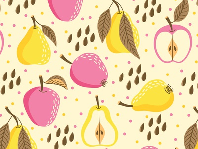 Pears and apples fruits design pears pattern apples pattern fruits pattern print design fabric pattern fabric textile design textile repeat pattern seamless pattern surface pattern surface design surface pattern design