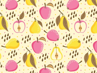 Pears and apples scale flat design vector pattern pears design aplles pattern fruits pattern fruits textile design textile fabric pattern fabric print design surface design surface pattern surface pattern design