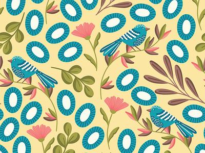 Blue birds floral design floral pattern bird design birds pattern flat design vector pattern textile pattern textile fabric design fabric print design seamless pattern repeating pattern surface pattern surface pattern design