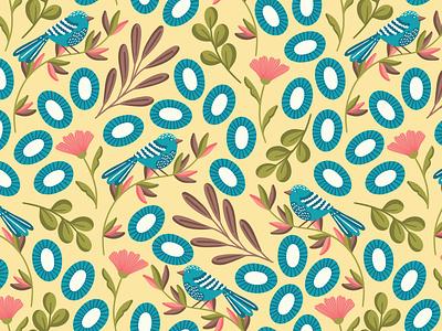 Blue birds scale floral patten bird design birds pattern flat design vector pattern fabric textile repeat pattern seamlesspattern surface pattern surface design surface pattern design