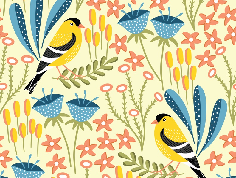 Finch print design fabric textile floral pattern finch pattern bird pattern flat design vector pattern repeat pattern seamless pattern surface pattern surface pattern design