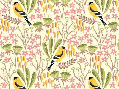 Finch floral pattern finch pattern birds pattern fabric textile print design flat design vector pattern repeating pattern seamless pattern surface pattern surface pattern design