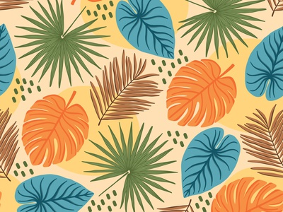Tropical leaves jungle pattern tropical pattern tropical leaves fabric textile flat design vector pattern seamless pattern repeating pattern surface pattern surface pattern design