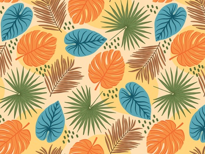 Tropical leaves scale seamless pattern repeat pattern tropical pattern tropical leaves jungle pattern fabric textile vector pattern pattern design surface pattern design