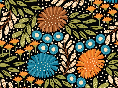 Meadow black floral pattern flat design vector pattern fabric textile repeating pattern seamless pattern surface pattern surface pattern design