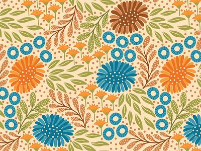 Meadow beige floral pattern textile fabric flat design vector pattern seamlesspattern repeating pattern surface pattern surface pattern design