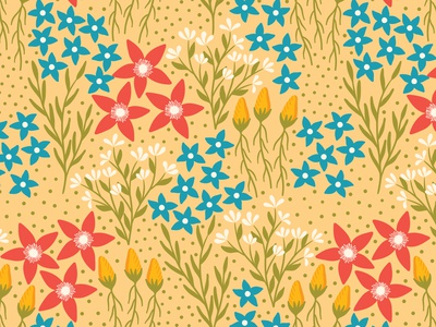 Playful flowers surface pattern seamless pattern vector pattern floral flat design repeating pattern floral pattern textile fabric flowers surface pattern design