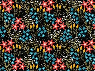 Playful flowers black vector pattern flat design surface pattern repeating pattern textile seamless pattern flowers floral pattern fabric surface pattern design