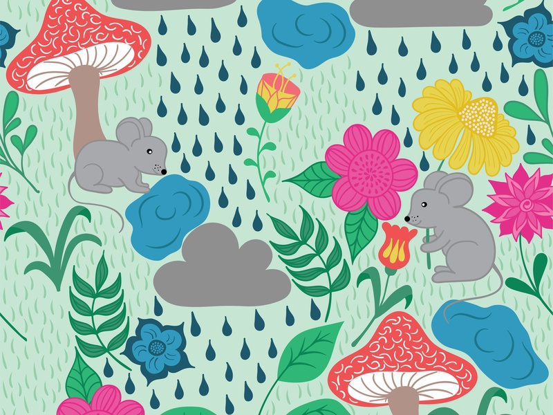 Rainy Day on green background mouse mice rain clouds mushrooms yellow green blue floral flowers leaves