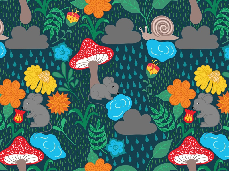 Rainy Day on dark background snail red rainy rain cloud mouse mice orange mushrooms yellow green blue floral flowers leaves