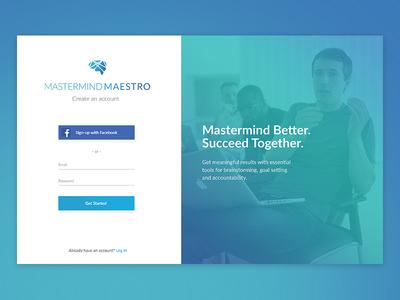 Mastermind Maestro Sign-up Page landing page slogan branding gradient login register signup