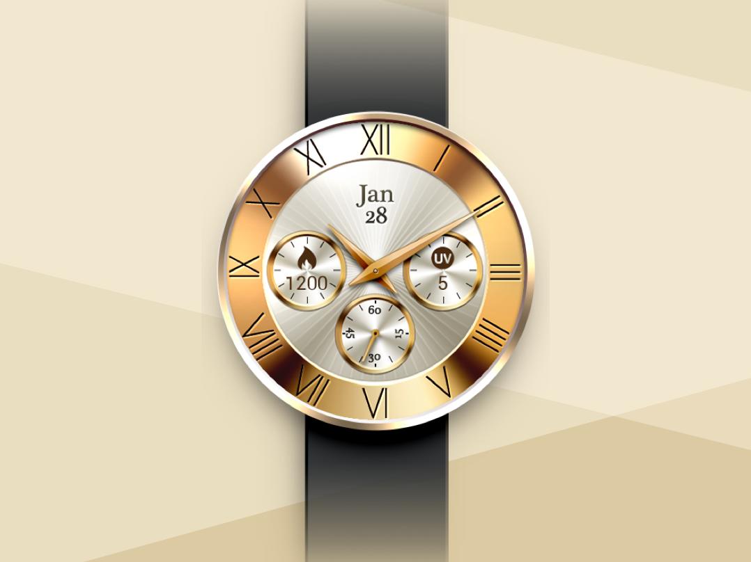 Digital Watch Face photoshop art photoshop 錶 golden ux watchface ui vector illustration