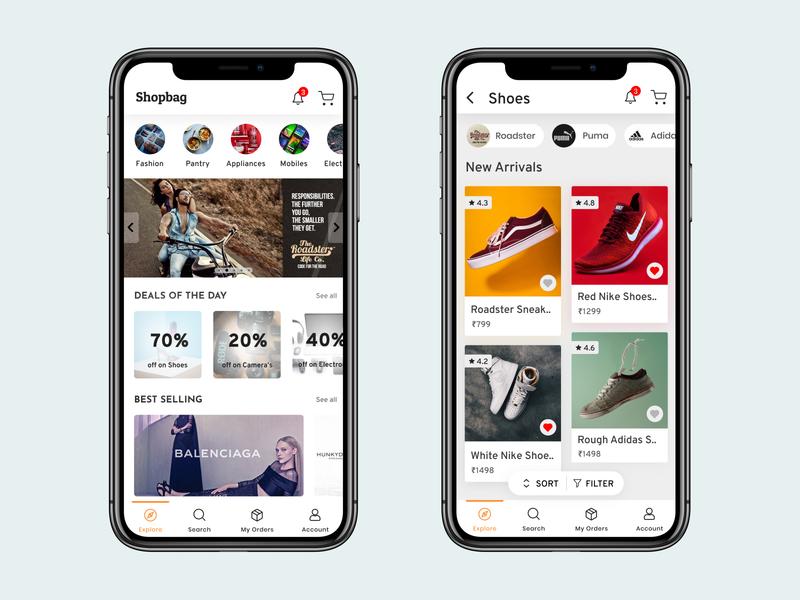 E-commerce App UI shoes shopping cart shop mobileapp ecommerce app ecommerce shopping app mobile ui illustration uidesign figma app adobexd ux ui minimal illustrator design