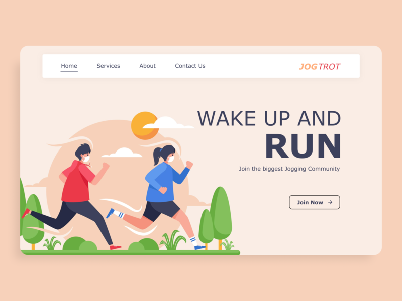 Jogging Web Design jogging jog mobile ui uidesign ux ui minimal illustrator figma design