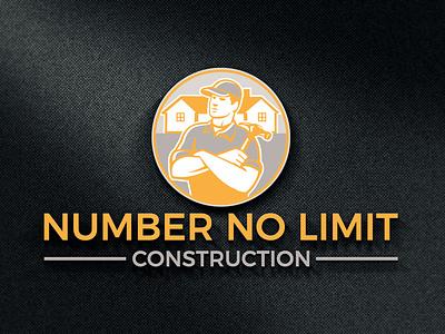 NUMBER NO LIMIT CONSTRUCTION LOGO stationary design animation illustrator clean design illustration typography graphic design branding building logo