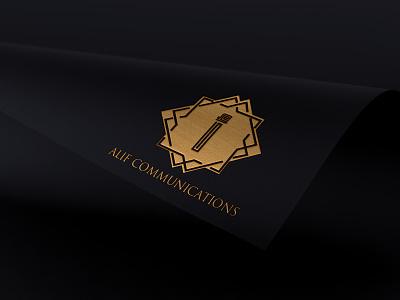 Alif Communation LOGO logo stationary design businesscard minimal illustration design typography branding graphic design communation communation